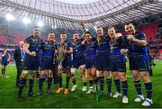 12 May 2018; Leinster's Jack Conan, Tadhg Furlong, Garry Ringrose, Andrew Porter, Joey Carbery, Dan Leavy, James Tracy and Cian Healy following their victory in the European Rugby Champions Cup Final match between Leinster and Racing 92 at the San Mames Stadium in Bilbao, Spain. Photo by Ramsey Cardy/Sportsfile