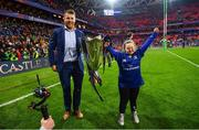 12 May 2018; Sean O'Brien of Leinster with Jennifer Malone, from Clane, Co. Kildare, following their victory in the European Rugby Champions Cup Final match between Leinster and Racing 92 at the San Mames Stadium in Bilbao, Spain. Photo by Ramsey Cardy/Sportsfile
