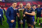 12 May 2018; Noel Reid, left, Fergus McFadden, centre, and Sean Cronin of Leinster following their victory in the European Rugby Champions Cup Final match between Leinster and Racing 92 at the San Mames Stadium in Bilbao, Spain. Photo by Ramsey Cardy/Sportsfile