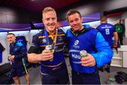 12 May 2018; James Tracy and Leinster scrum coach John Fogarty following their victory in the European Rugby Champions Cup Final match between Leinster and Racing 92 at the San Mames Stadium in Bilbao, Spain. Photo by Ramsey Cardy/Sportsfile