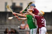 13 May 2018; Alan Douglas of Meath in action against Tommy Doyle, centre, and Shane Power, right, both of Westmeath, during the Joe McDonagh Cup Round 2 match between Westmeath and Meath at TEG Cusack Park in Westmeath. Photo by Sam Barnes/Sportsfile