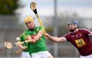13 May 2018; James Kelly of Meath in action against Derek McNicholas of Westmeath during the Joe McDonagh Cup Round 2 match between Westmeath and Meath at TEG Cusack Park in Westmeath. Photo by Sam Barnes/Sportsfile
