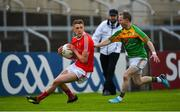 13 May 2018; Ryan Burns of Louth in action against Danny Moran of Carlow during the Leinster GAA Football Senior Championship Preliminary Round match between Louth and Carlow at O'Moore Park in Laois. Photo by Harry Murphy/Sportsfile