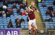 13 May 2018; Seán Walsh of Mayo scores his side's first goal during the Junior Championship Final match between Mayo and Galway at Elvery's MacHale Park in Mayo. Photo by David Fitzgerald/Sportsfile