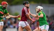 13 May 2018; Robbie Greville of Westmeath in action against Niall Weir, left, and Seán Geraghty of Meath during the Joe McDonagh Cup Round 2 match between Westmeath and Meath at TEG Cusack Park in Westmeath. Photo by Sam Barnes/Sportsfile