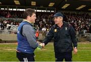 13 May 2018; Meath manager Nick Fitzgerald and Westmeath manager Michael Ryan shake hands following the Joe McDonagh Cup Round 2 match between Westmeath and Meath at TEG Cusack Park in Westmeath. Photo by Sam Barnes/Sportsfile