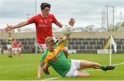 13 May 2018; Emmet Carolan of Louth in action against Darragh O'Brien of Carlow during the Leinster GAA Football Senior Championship Preliminary Round match between Louth and Carlow at O'Moore Park in Laois. Photo by Harry Murphy/Sportsfile