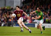 13 May 2018; Callum McCormack of Westmeath in action against Cillian O'Sullivan of Meath during the Bord na Mona O'Byrne Cup Final match between Westmeath and Meath at TEG Cusack Park in Westmeath. Photo by Sam Barnes/Sportsfile