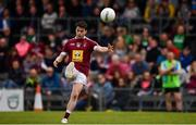 13 May 2018; John Connellan of Westmeath kicks a free during the Bord na Mona O'Byrne Cup Final match between Westmeath and Meath at TEG Cusack Park in Westmeath. Photo by Sam Barnes/Sportsfile
