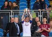 13 May 2018; Maghnus Breathnach of Galway lifting the cup after the Junior Championship Semi-Final match between Mayo and Galway at Elvery's MacHale Park in Mayo. Photo by Eóin Noonan/Sportsfile