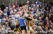 13 May 2018; Liam Rushe, left, and Danny Sutcliffe of Dublin in action against Paddy Deegan, left, Pádraig Walsh, and Cillian Buckley, right, of Kilkenny during the Leinster GAA Hurling Senior Championship Round 1 match between Dublin and Kilkenny at Parnell Park in Dublin. Photo by Daire Brennan/Sportsfile