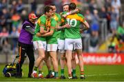 13 May 2018; Seán Gannon of Carlow celebrates with Lee Walker and teammates after the Leinster GAA Football Senior Championship Preliminary Round match between Louth and Carlow at O'Moore Park in Laois. Photo by Harry Murphy/Sportsfile