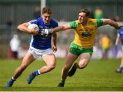 13 May 2018; Killian Clarke of Cavan in action against Hugh McFadden of Donegal during the Ulster GAA Football Senior Championship Preliminary Round match between Donegal and Cavan at Páirc MacCumhaill in Donegal. Photo by Philip Fitzpatrick/Sportsfile