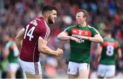 13 May 2018; Damien Comer of Galway celebrates after kicking a point during the Connacht GAA Football Senior Championship Quarter-Final match between Mayo and Galway at Elvery's MacHale Park in Mayo. Photo by David Fitzgerald/Sportsfile