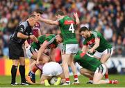 13 May 2018; Mayo players including Aidan O'Shea, left, and Colm Boyle, right attempt to get the ball from Damien Comer of Galway during the Connacht GAA Football Senior Championship Quarter-Final match between Mayo and Galway at Elvery's MacHale Park in Mayo. Photo by Eóin Noonan/Sportsfile