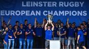 13 May 2018; Dan Leavy of Leinster lifts the Champions Cup during their homecoming at Energia Park in Dublin following their victory in the European Champions Cup Final in Bilbao, Spain. Photo by Brendan Moran/Sportsfile