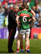 13 May 2018; Mayo manager Stephen Rochford speaking with Colm Boyle and Aidan O'Shea of Mayo prior to the Connacht GAA Football Senior Championship Quarter-Final match between Mayo and Galway at Elvery's MacHale Park in Mayo. Photo by Eóin Noonan/Sportsfile