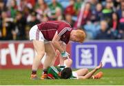 13 May 2018; Declan Kyne of Galway during a coming together with Jason Doherty of Mayo during the Connacht GAA Football Senior Championship Quarter-Final match between Mayo and Galway at Elvery's MacHale Park in Mayo. Photo by Eóin Noonan/Sportsfile
