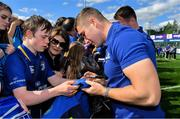 13 May 2018; Jordan Larmour of Leinster signs autographs during their homecoming at Energia Park in Dublin following their victory in the European Champions Cup Final in Bilbao, Spain. Photo by Brendan Moran/Sportsfile