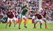 13 May 2018; Tom Parsons of Mayo in action against Paul Conroy, left, Cathal Sweeney and Shane Walsh of Galway during the Connacht GAA Football Senior Championship Quarter-Final match between Mayo and Galway at Elvery's MacHale Park in Mayo. Photo by David Fitzgerald/Sportsfile