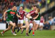 13 May 2018; Sean Andy Ó'Ceallaigh of Galway in action against Aidan O'Shea of Mayo during the Connacht GAA Football Senior Championship Quarter-Final match between Mayo and Galway at Elvery's MacHale Park in Mayo. Photo by Eóin Noonan/Sportsfile