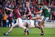13 May 2018; Tom Parsons of Mayo in action against Gareth Bradshaw of Galway during the Connacht GAA Football Senior Championship Quarter-Final match between Mayo and Galway at Elvery's MacHale Park in Mayo. Photo by David Fitzgerald/Sportsfile