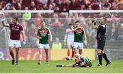 13 May 2018; Tom Parsons of Mayo lies injured during the Connacht GAA Football Senior Championship Quarter-Final match between Mayo and Galway at Elvery's MacHale Park in Mayo. Photo by David Fitzgerald/Sportsfile