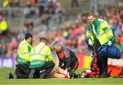 13 May 2018; (EDITORS NOTE; This image contains graphic content) Tom Parsons of Mayo is treated by medical staff during the Connacht GAA Football Senior Championship Quarter-Final match between Mayo and Galway at Elvery's MacHale Park in Mayo. Photo by Eóin Noonan/Sportsfile