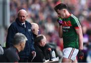 13 May 2018; Diarmuid O'Connor of Mayo makes his way off the field after being sent off during the Connacht GAA Football Senior Championship Quarter-Final match between Mayo and Galway at Elvery's MacHale Park in Mayo. Photo by David Fitzgerald/Sportsfile