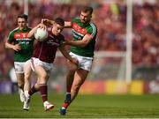13 May 2018; Eamonn Brannigan of Galway in action against Aidan O'Shea of Mayo during the Connacht GAA Football Senior Championship Quarter-Final match between Mayo and Galway at Elvery's MacHale Park in Mayo. Photo by Eóin Noonan/Sportsfile