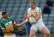 13 May 2018; Offaly goalkeeper Alan Mulhall gathers possession ahead of team-mate Declan Hogan and Seán Furlong of Wicklow during the Leinster GAA Football Senior Championship Preliminary Round match between Offaly and Wicklow at O'Moore Park in Laois. Photo by Piaras Ó Mídheach/Sportsfile