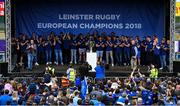 13 May 2018; The Leinster team are welcomed home by their fans during their homecoming at Energia Park in Dublin following their victory in the European Champions Cup Final in Bilbao, Spain. Photo by Brendan Moran/Sportsfile