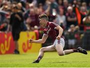 13 May 2018; Johnny Heaney of Galway celebrates after scoring his side's first goal of the game during the Connacht GAA Football Senior Championship Quarter-Final match between Mayo and Galway at Elvery's MacHale Park in Mayo. Photo by Eóin Noonan/Sportsfile