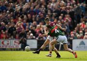 13 May 2018; Johnny Heaney of Galway scores his side's first goal of the game despite the efforts of Keith Higgins of Mayo during the Connacht GAA Football Senior Championship Quarter-Final match between Mayo and Galway at Elvery's MacHale Park in Mayo. Photo by Eóin Noonan/Sportsfile