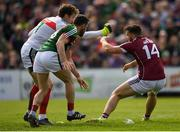 13 May 2018; Damien Comer of Galway during a coming together with David Clarke and Chris Barrett of Mayo during the Connacht GAA Football Senior Championship Quarter-Final match between Mayo and Galway at Elvery's MacHale Park in Mayo. Photo by Eóin Noonan/Sportsfile