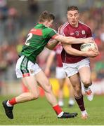 13 May 2018; Eamonn Brannigan of Galway in action against Declan Kyne of Galway during the Connacht GAA Football Senior Championship Quarter-Final match between Mayo and Galway at Elvery's MacHale Park in Mayo. Photo by Eóin Noonan/Sportsfile