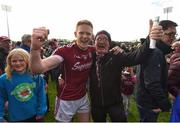 13 May 2018; Ciarán Duggan of Galway celebrates with his father Ciaran following the Connacht GAA Football Senior Championship Quarter-Final match between Mayo and Galway at Elvery's MacHale Park in Mayo. Photo by David Fitzgerald/Sportsfile