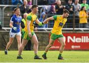 13 May 2018; Cian Mulligan of Donegal, right, is congratulated by Patrick McBrearty of Donegal after scoring his sides econd goal during the Ulster GAA Football Senior Championship Preliminary Round match between Donegal and Cavan at Páirc MacCumhaill in Donegal. Photo by Oliver McVeigh/Sportsfile