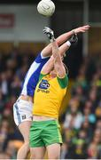 13 May 2018; Gearoid McKiernan of Cavan in action against Hugh McFadden of Donegal during the Ulster GAA Football Senior Championship Preliminary Round match between Donegal and Cavan at Páirc MacCumhaill in Donegal. Photo by Oliver McVeigh/Sportsfile