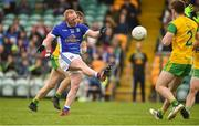 13 May 2018; Cian Mackey of Cavan scoring a point during the Ulster GAA Football Senior Championship Preliminary Round match between Donegal and Cavan at Páirc MacCumhaill in Donegal. Photo by Oliver McVeigh/Sportsfile