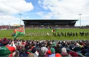 13 May 2018; Players from both side's march behind the band prior to the Connacht GAA Football Senior Championship Quarter-Final match between Mayo and Galway at Elvery's MacHale Park in Mayo. Photo by David Fitzgerald/Sportsfile