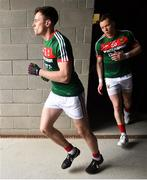 13 May 2018; Diarmuid O'Connor, left, and Donal Vaughan of Mayo run out prior to the Connacht GAA Football Senior Championship Quarter-Final match between Mayo and Galway at Elvery's MacHale Park in Mayo. Photo by David Fitzgerald/Sportsfile