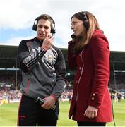 13 May 2018; Lee Keegan of Mayo speaking on RTE television prior to the Connacht GAA Football Senior Championship Quarter-Final match between Mayo and Galway at Elvery's MacHale Park in Mayo. Photo by David Fitzgerald/Sportsfile