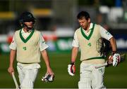 13 May 2018; Ireland captain William Porterfield, left, and team-mate Ed Joyce leave the field at the close of play on day three of the International Cricket Test match between Ireland and Pakistan at Malahide, in Co. Dublin. Photo by Seb Daly/Sportsfile