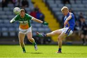 13 May 2018; Mark Kenny of Wicklow in action against Niall Darby of Offaly during the Leinster GAA Football Senior Championship Preliminary Round match between Offaly and Wicklow at O'Moore Park in Laois. Photo by Harry Murphy/Sportsfile