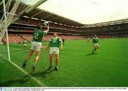 3 August 2003; Fermanagh's, Ryan McCloskey,(2) catches the ball on the line. Bank of Ireland All-Ireland Senior Football Championship Quarter Final, Tyrone v Fermanagh, Croke Park, Dublin. Picture credit; Damien Eagers / SPORTSFILE. *EDI*