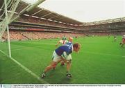 3 August 2003; Fermanagh goalkeeper, Ronan Gallagher, saves the ball on the line. Bank of Ireland All-Ireland Senior Football Championship Quarter Final, Tyrone v Fermanagh, Croke Park, Dublin. Picture credit; Damien Eagers / SPORTSFILE. *EDI*