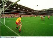3 August 2003; Tyrone goalkeeper, John Devine, defends the Tyrone goal. Bank of Ireland All-Ireland Senior Football Championship Quarter Final, Tyrone v Fermanagh, Croke Park, Dublin. Picture credit; Damien Eagers / SPORTSFILE. *EDI*