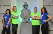 14 May 2018; In attendance at the launch of the 39th running of the SSE Airtricity Dublin Marathon are, from left, Mary Jennings, Lizzie Lee, Mary Nolan Hickey and Caitriona Jennings, alongside the Countess Markievicz Statue at the Houses of the Oireachtas in Dublin 2018, will mark and celebrate female runners, linking with the nationwide commemoration of Vótáil 100. Constance Markievicz, a key campaigner for Irish women's voting rights, will appear on all finishers medals. Photo by Sam Barnes/Sportsfile