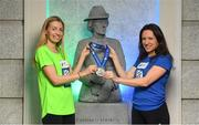 14 May 2018; In attendance at the launch of the 39th running of the SSE Airtricity Dublin Marathon are, Lizzie Lee, left, and Caitriona Jennings, alongside the Countess Markievicz Statue at the Houses of the Oireachtas in Dublin. 2018, will mark and celebrate female runners, linking with the nationwide commemoration of Vótáil 100. Constance Markievicz, a key campaigner for Irish women's voting rights, will appear on all finishers medals. Photo by Sam Barnes/Sportsfile